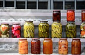 Pickled fruits for sale on the main street at Garni east of Yerevan, Armenia, Asia