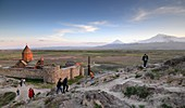 The Mother of the Mountains, Mount Ararat and Monastery Chor Wirap in the evening light, Armenia, Asia