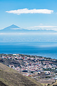 The capital overlooking the island of Tenerife and Mount Teide, San Sebastián de La Gomera, La Gomera, Canary Islands, Spain