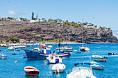 View of the harbor and the cliffs, Playa Santiago, La Gomera, Canary Islands, Spain
