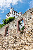 The Electoral Castle on the Rhine with fragments of a fortification wall, Eltville, Rheingau, Hesse, Germany
