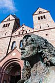 Sculpture of Hildegard von Bingen, St. Hildegard Abbey, Eibingen, Rheingau, Hesse, Germany