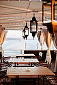 Restaurant mit Blick auf den Nil, Ägypten