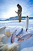 Norway, winter,  Heggenes,surroundings ,Frozen lake, Icefishing