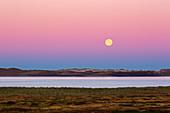 Full moon over the Listland, Sylt, North Sea, Schleswig-Holstein, Germany