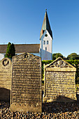 Gravestones in the cemetery, St. Clement's Church, Nebel, Amrum, North Sea, Schleswig-Holstein, Germany