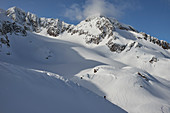 Skiers in deep snow, Austria, ski tours, freeride, South Tyrol, wintry mountains