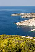 View over the coast near Porto Vromi, Zakynthos, Ionian Islands, Greece, Zakynthos, Ionian Islands, Greece