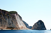Cliffs at the sparsely populated western coast of Zakynthos, Zakynthos, Ionian Islands, Greece