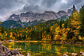 The Eibsee below the Zugspitze in the Wetterstein Mountains in Bavaria. He belongs to the municipality Grainau. Grainau, Garmisch-Partenkirchen, Bavaria, Germany, Europe