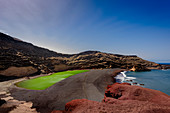 The green lagoon in El Golfo on the Canary island Lanzarote. El Golfo, Lanzarote, Canary Islands, Spain, Europe