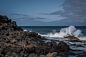 The Playa del Janubio is a natural beach with black sand. Janubio, Lanzarote, Canary Islands, Spain, Europe