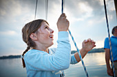 9-year-old girl at the Großfall, Ammersee, Bavaria Germany