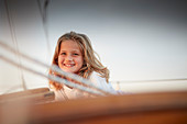 9-year-old girl on board the two-master Sir Shackleton, Ammersee, Bavaria, Germany