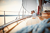 Two 9-year-old girls aboard the two-master Sir Shackleton, Ammersee, Bavaria Germany