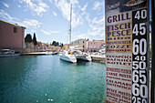 Menu at the port, catamaran EOS is located in the port of Veli Losinj island Losinj, Adriatic, Croatia