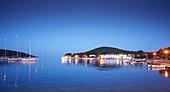 Yachts, harbor, evening, Ilovic, Kvarner bay, Adriatic sea, Croatia