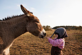 Donkey pulling hat on cute girl