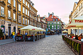 A street scene in the New Town in Warsaw, Poland, Europe