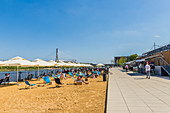 The beach and outdoor restaurants along the Vistulan Boulevards beside the Vistula River, Warsaw, Poland, Europe