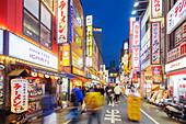 Neon lit street, Shinjuku, Tokyo, Japan, Asia