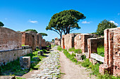 Decumanus Maximus, Ostia Antica archaeological site, Ostia, Rome province, Lazio, Italy, Europe