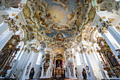 Rococo style paintings on the ceiling of the Pilgrimage Church of Wies, UNESCO World Heritage Site, Steingaden, Bavaria, Germany, Europe