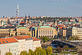 View from Prague Castle to the old town, UNESCO World Heritage Site, Prague, Bohemia, Czech Republic, Europe