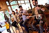Music group in restaurant in the old town of Baku, Caspian Sea, Azerbaijan, Asia