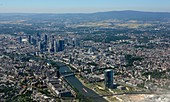 View to the city center with its skyscrapers and the River Main, below the building of the European Central Bank, approach to the airport, Frankfurt am Main, Hesse, Germany