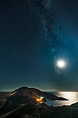 Moon and stars over the Mani peninsula, Peloponnese, Greece