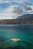 Boat in the bay of Limeni, Mani peninsula, Peloponnese, Greece
