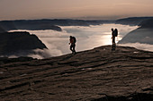 2 hikers with backpack go in the backlight of the sunrise along the Preikestolen. Among them morning fog over the Lysefjord. Norway