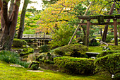 Hanambashi Bridge and a stone gate surrounded by autumn foliage in the Kenrokuen Garden, Kanazawa, Ishigawa, Japan, Asia
