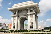 Arch of Triumph, 10 metres taller than the Paris version, Pyongyang, North Korea, Asia