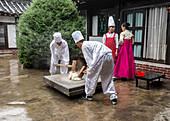 Traditional rice smashing at Kaesong, North Korea, Asia