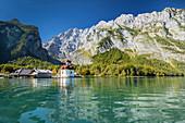 St. Bartholomew, Lake Koenigssee, Watzmann Mountain, Berchtesgadener Land, Berchtesgaden National Park, Upper Bavaria, Bavaria, Germany, Europe