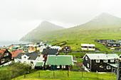 Rain on Gjogv seen through window glass, Eysturoy island, Faroe Islands, Denmark, Europe