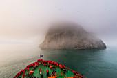 Icebreaker approaching the Skala Rubini (Rubini rock), Franz Josef Land archipelago, Arkhangelsk Oblast, Arctic, Russia, Europe