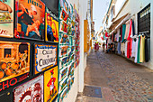 Colorful ceramics and shops in the alleys of the old town, Cordoba, Andalusia, Spain, Europe