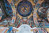 Christian wall paintings, Rila Monastery, UNESCO World Heritage Site, Rila mountains, Bulgaria, Europe