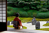 Quiet moment in Komyo-in temple garden, Kyoto, Japan, Asia