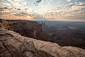 Majestic natural scenery of canyon at sunrise at Mesa Arch in Canyonlands National Park, Moab, Utah, USA