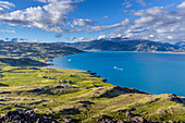 Beautiful natural scenery with scenic view of fjord, Qassiarsuk, Greenland