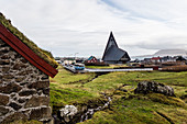 Vesturkirkjan (The West Church) with its pyramid shaped copper spire is a distinctive landmark in Trshavn, faroe Islands. It was built in 1975.