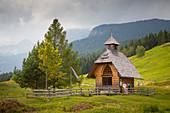 Chapel at Uskovnica alpine pasture at Pokljuka Plateau, Uskovnica, Triglav, Slovenia