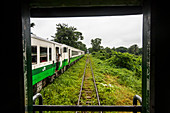 Local passengers ride Yangon Central Railway, Myanmar