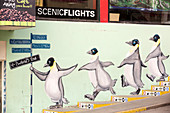 Mural of penguins on wall in Ushuaia, Tierra Del Fuego, Argentina