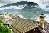 Idyllic town of Hallstatt on shore of Hallstatter See, Upper Austria, Austria