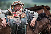 Portrait of Mongol horseman, Bulgan, Central Mongolia, Mongolia
